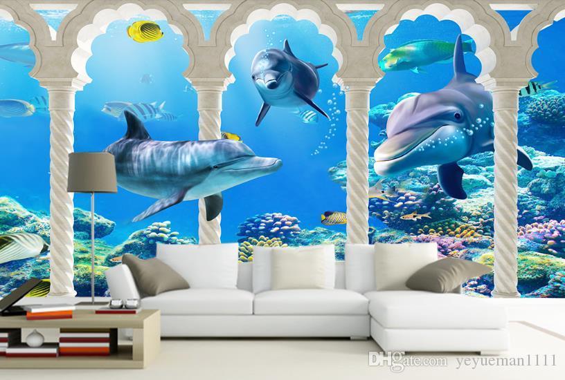 Peintures murales 3D Le monde sous-marin Papier peint pour la salle de mariage Papier peint en soie Papel De Parede Personnalisé toute taille