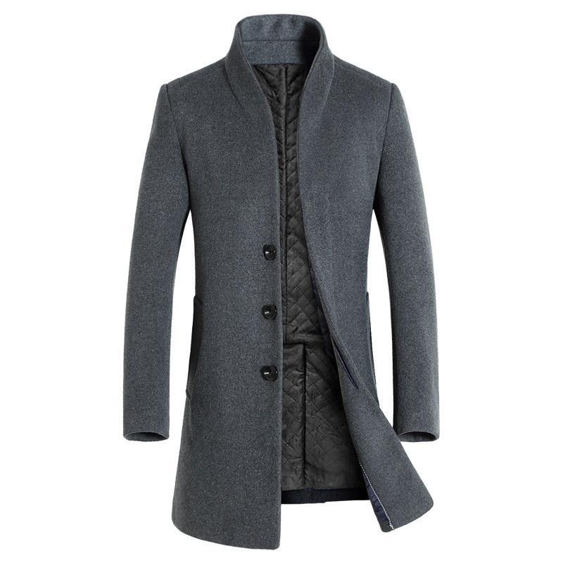 Men's Fine Wool Blend Solid Color Casual Business Stand Collar Woolen Coats / Male Slim Windbreaker Coat Men Jackets