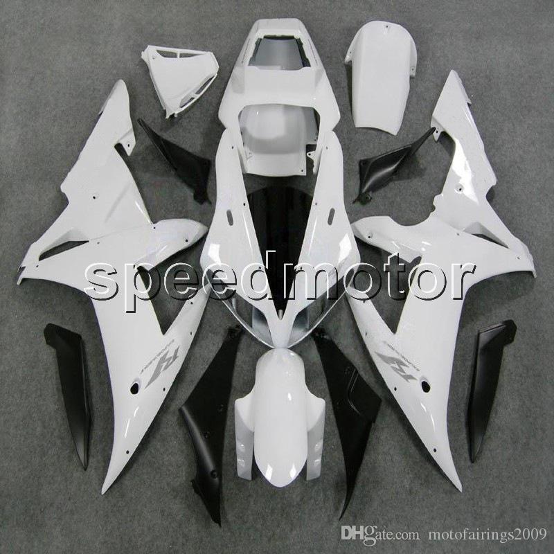 Custom + Screws 화이트 바디 키트 YZFR1 02-03 YZF-R1 2002 2003 야마하 용 ABS 오토바이 페어링