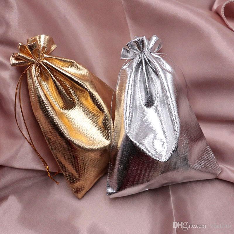 200PCS / lot الفضة اورجانزا حقائب مجوهرات الرباط مجوهرات هدايا حلوى الحقائب 2 ألوان الديكور الزفاف هدايا عيد الميلاد حقائب تغليف