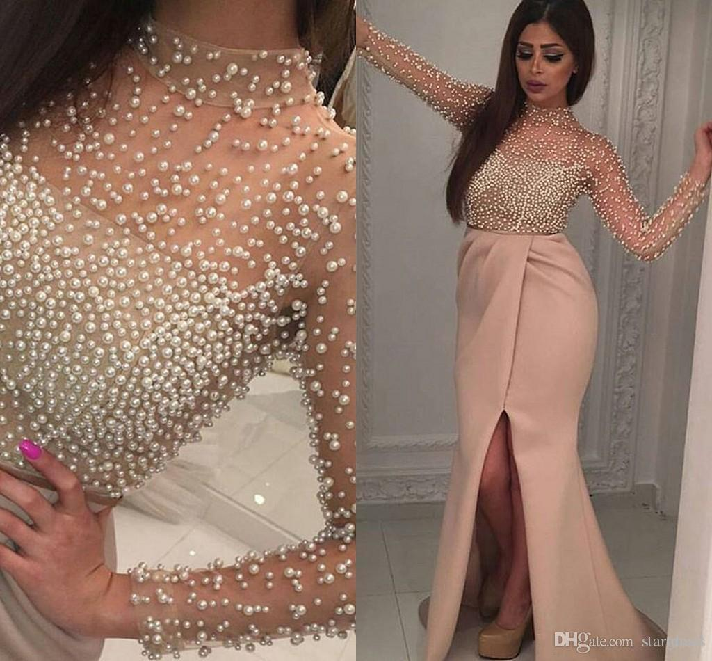 Modest khaki High Neck Pearls Prom Dresses Front Slit Chiffon Pleat Sexy Cheap Formal Evening Illusion Sleeve arabic Party Gown Holiday 2018