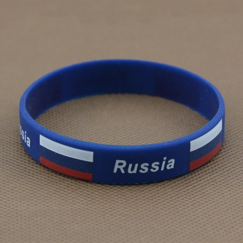 Sport Silicone Bracelets Flag Color Bracelet Spain Germany Russia Football Fans Symbolize Wearing Elastic Basketball Wrist Strap