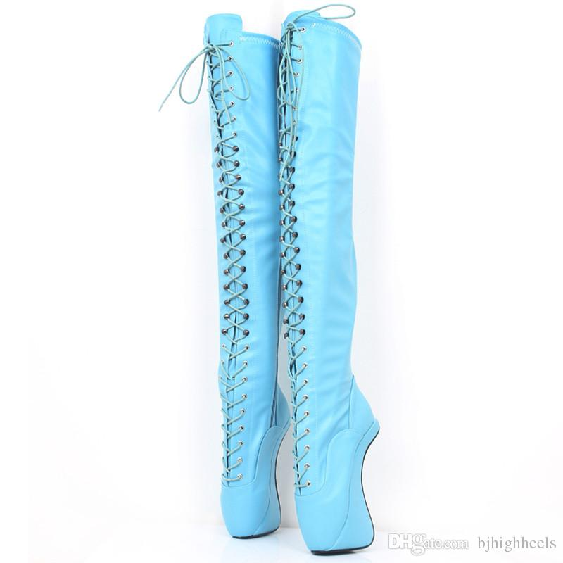 18CM Heel Height Sexy Round Toe Hoof Heel Platform Party Over-the-Knee- Boots US size 5.5-14.5 No.MT1828