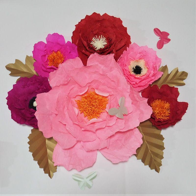 Krep Kağıt Çiçekler Zemin Dev Kağıt Çiçekler 6 adet + Yapraklar 4 adet + Kelebekler 3 adet Duvar Çiçek Kreş Düğün Süslemeleri Ev Dekor
