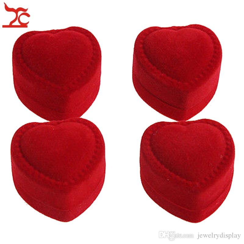 Mini Cute Red Carrying Cases Foldable Red Heart Shaped Ring Box For Rings Lid Open Velvet Display Box Jewelry Packaging 24Pcs Hot