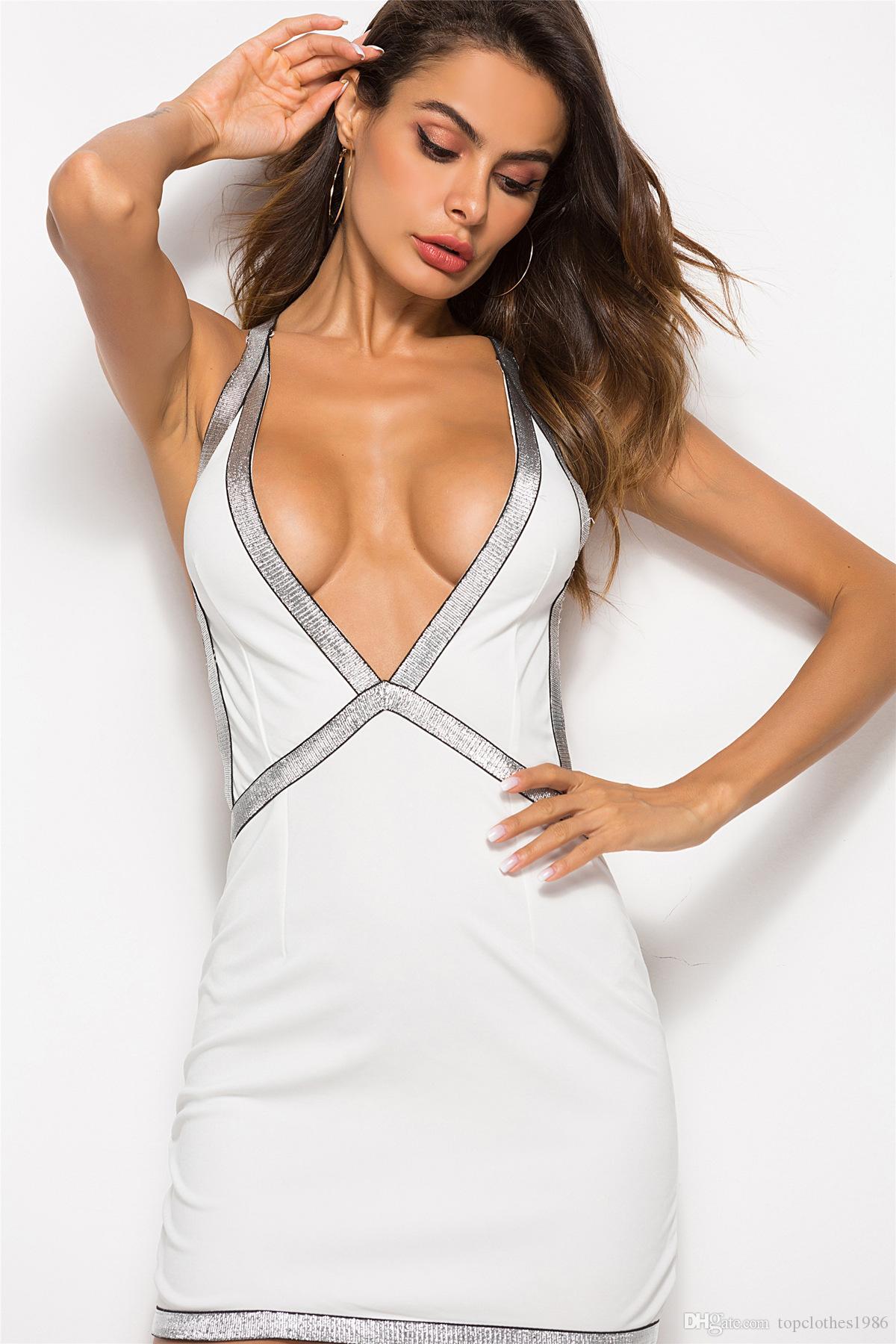 Deep V-Neck Sleeveless Bodycon Dresses - Faveux Fashion