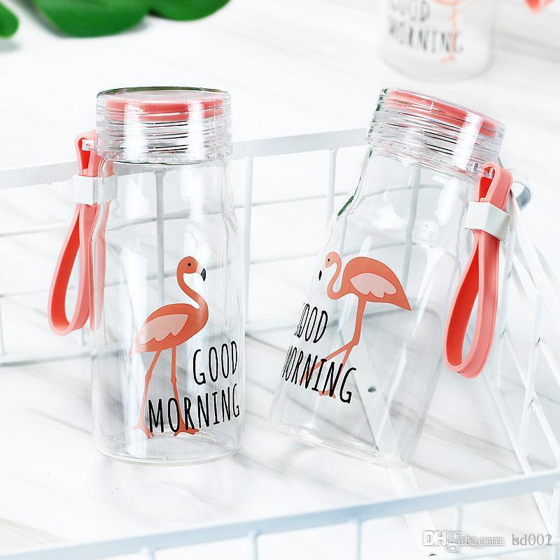Garrafas De Água Dos Desenhos Animados Para O Trabalhador de escritório Copo de Isolamento Térmico Resistente Ao Calor Padrão Flamingo Copo De Vidro Prático 9 5md BB