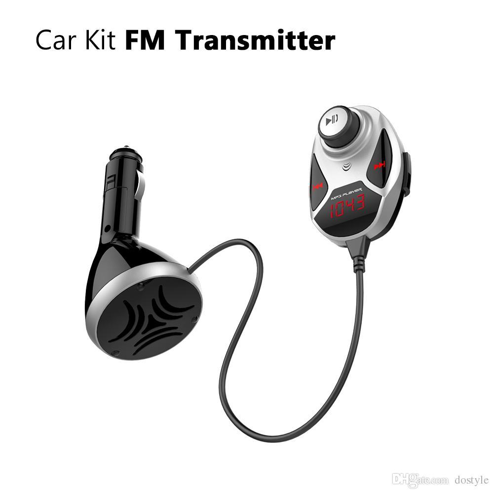 Bluetooth 4.0 FM transmisor inalámbrico audio receptor de música manos libres dual usb kit de coche cargador reproductor de mp3- negro plata
