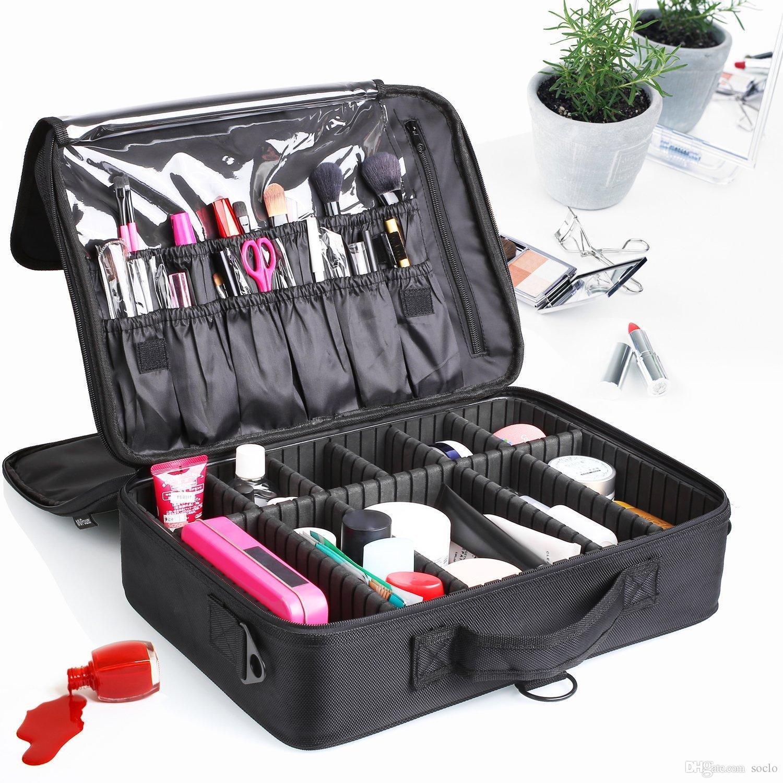 2018 Makeup Train Case 3 Layer Makeup Organizer Bag With