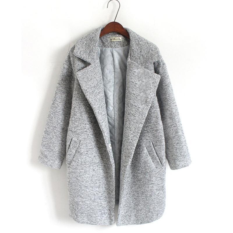 Hchenli Mujer Abrigo de Lana Chaqueta de Invierno de Alta Calidad Mujer Abrigos de Cachemira Larga de Lana Chaquetas de Punto Chaqueta Elegante