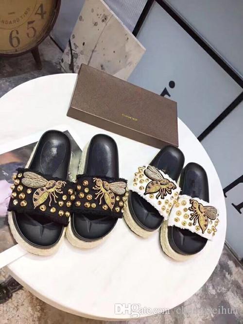 2018 новый стиль вышитые конопли веревки толстые подошвы сандалии высокой джинсовой верхней вышитые bee-bee мода женская повседневная обувь