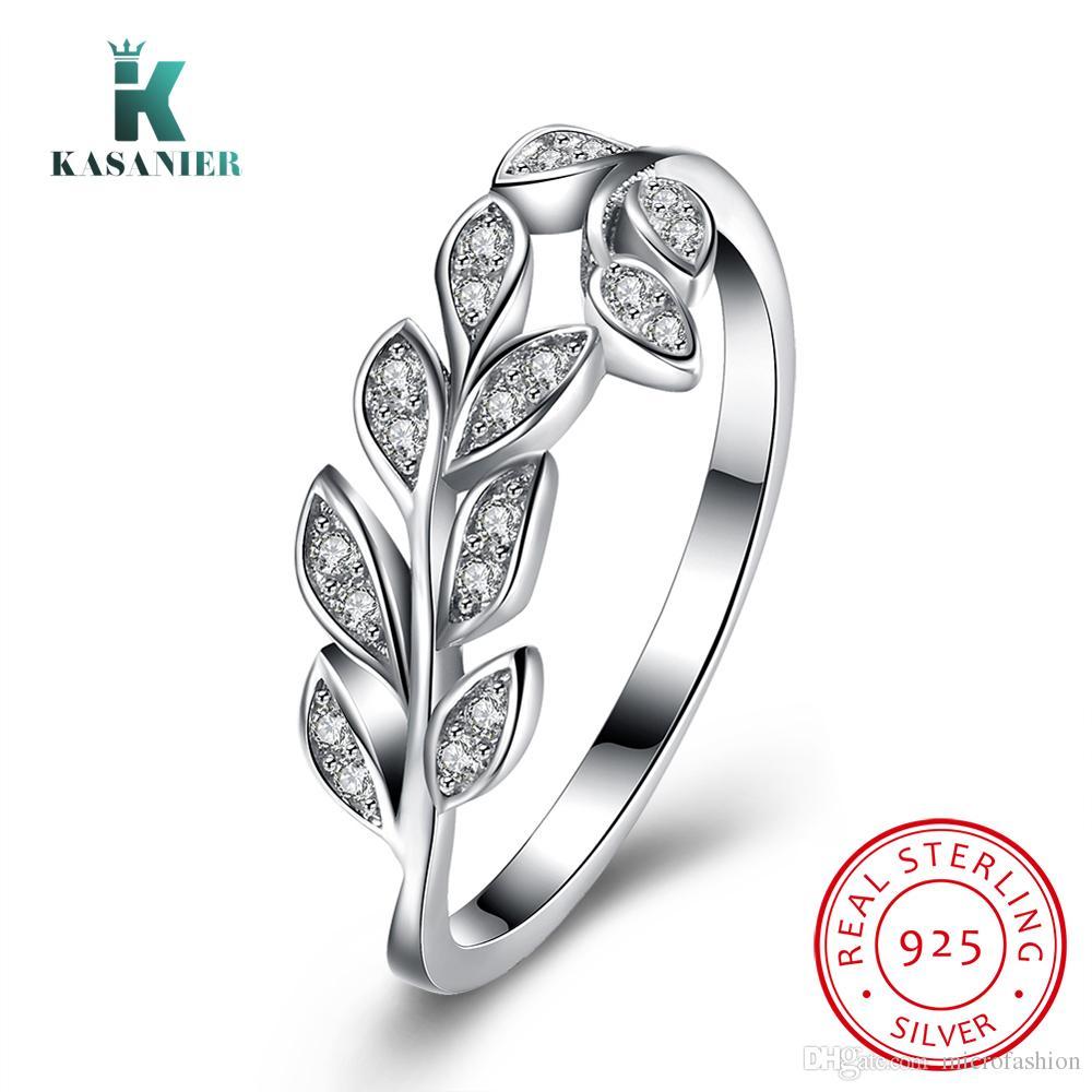 KASANIER S925 En Argent Sterling Belle Olive branche Zircon Anneaux pour femmes bijoux Fiançailles De Mariage pour les femmes bijoux cadeau