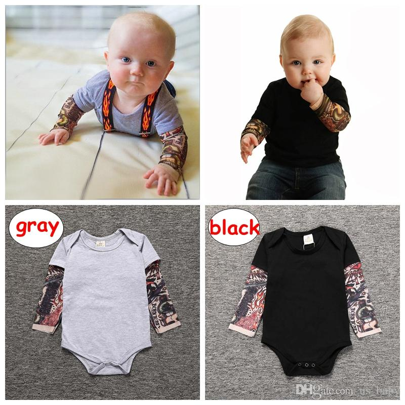 1-3T Baby Patchwork Romper Infant boy cotton long sleeve Jumpsuits outfit Newborn Boy gray black bodysuit