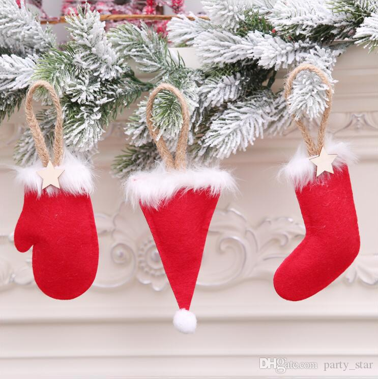 New Indoor Christmas Tree Mini Glove Hat Boot Pendant Decorations Bar Club Christmas Party Decoration Supplies