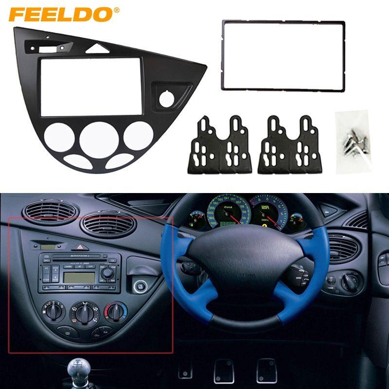 FEELDO Black Car 2DIN Stereo Panel Fascia Radio Refitting Dash Trim Kit For Ford Focus 98~04(RHD)/Fiesta 95~01(RHD) #2219