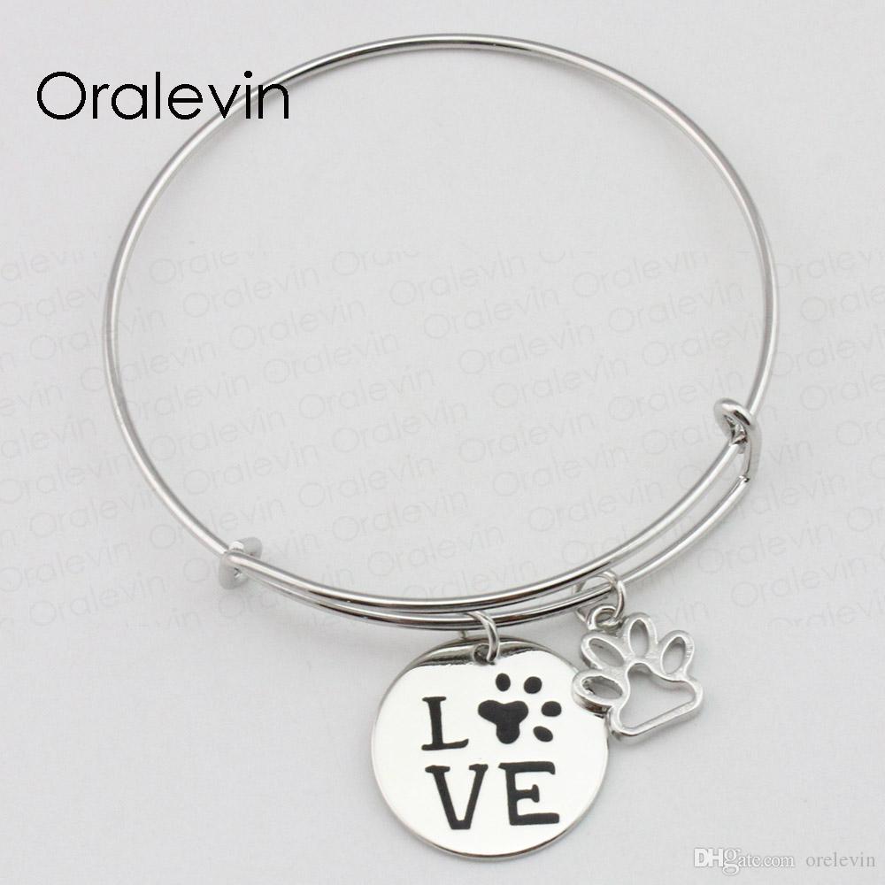 Métal emboutissant des idées amour inspiré estampillé main gravé pendentif personnalisé fil extensible bracelet fait à la main de bijoux, 10 Pcs / lot, # LN2356B