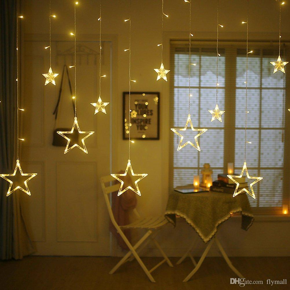 12 Stars 138 LED Curtain String Lights Window Curtain Lights with 8 Flashing Modes Decoration for Christmas Wedding Party Home Patio Lawn