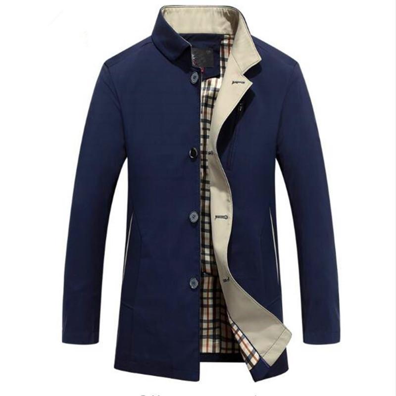 Vente en gros - Livraison gratuite 2017 Hommes Trench-Coat Automne Hommes Vestes Et Manteaux Slim-Coat Élégant Style Britannique Homme Tranchée Simple Breasted