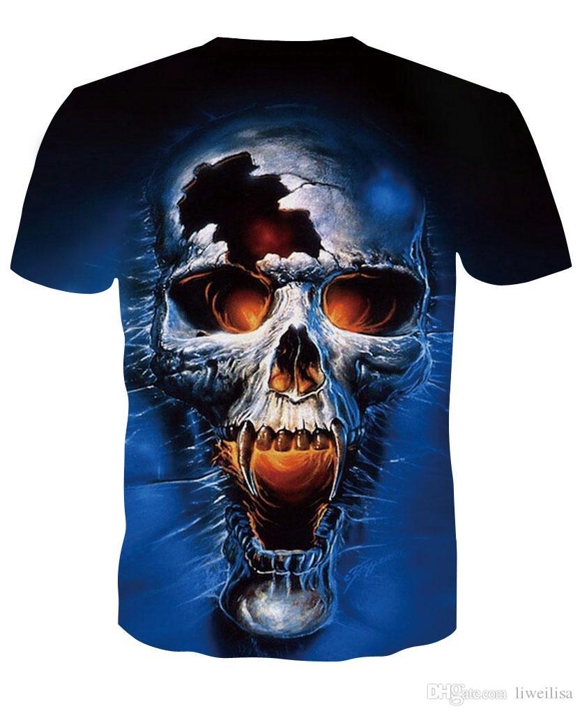 Drukuj Niebieski Szkielet T Koszulki 3d Mężczyźni Koszulki Nowość Zwierząt Topy Tees Mężczyzna Krótki Rękaw Summer Round Neck Koszulki Darmowa Wysyłka