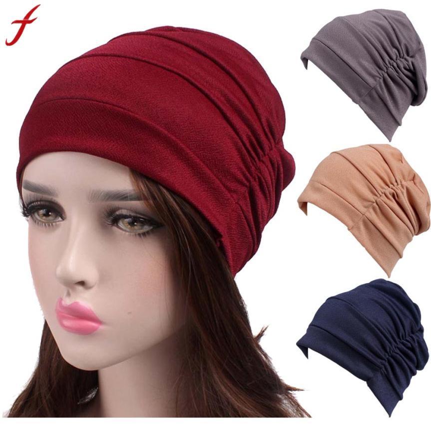 Donne New Elastic Cap Turban chemioterapia musulmana Cancer Chemo Hat Beanie Sciarpa Turbante Testa Wrap Cap Travel Street Take Photo