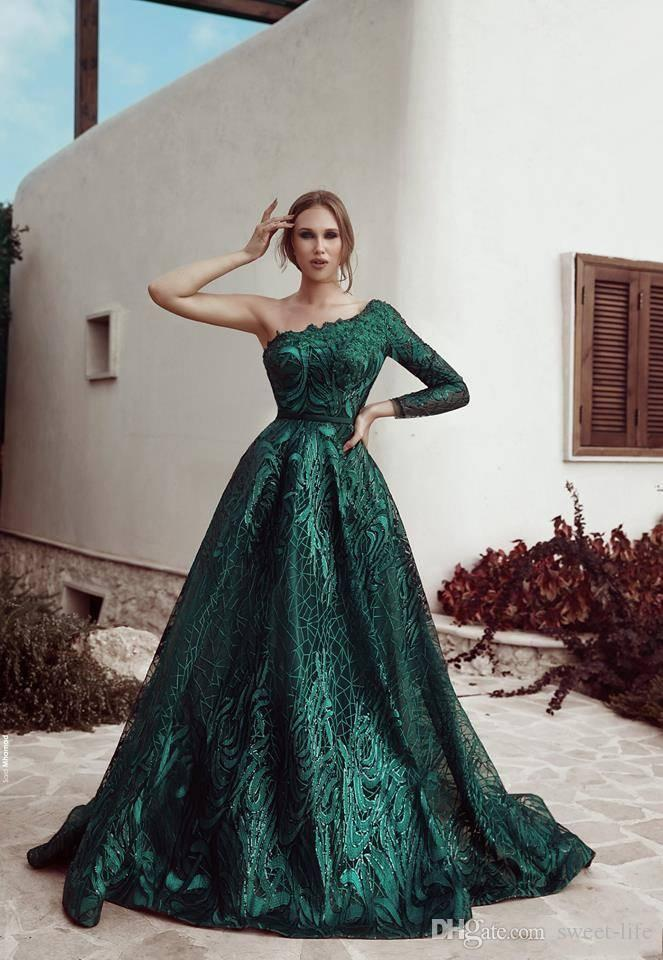 Prom Gown A-Line One Shoulder Long Sleeve Party Charming Maxi Dresses Lace Occasion Elegant Evening Formal Dress 2019