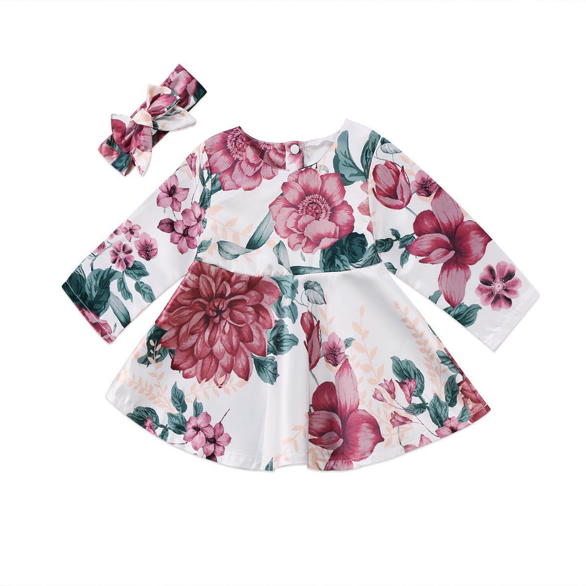 Pudcoco Newborn Baby Girls manica lunga vestito floreale fascia 2 pezzi abiti per bambini Set di vestiti