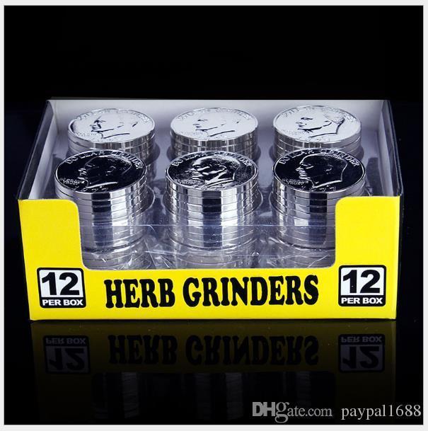 Три слоя металла табака GRINDER сломанной детектор дыма LAORENTOU монета стиль табака Grinder