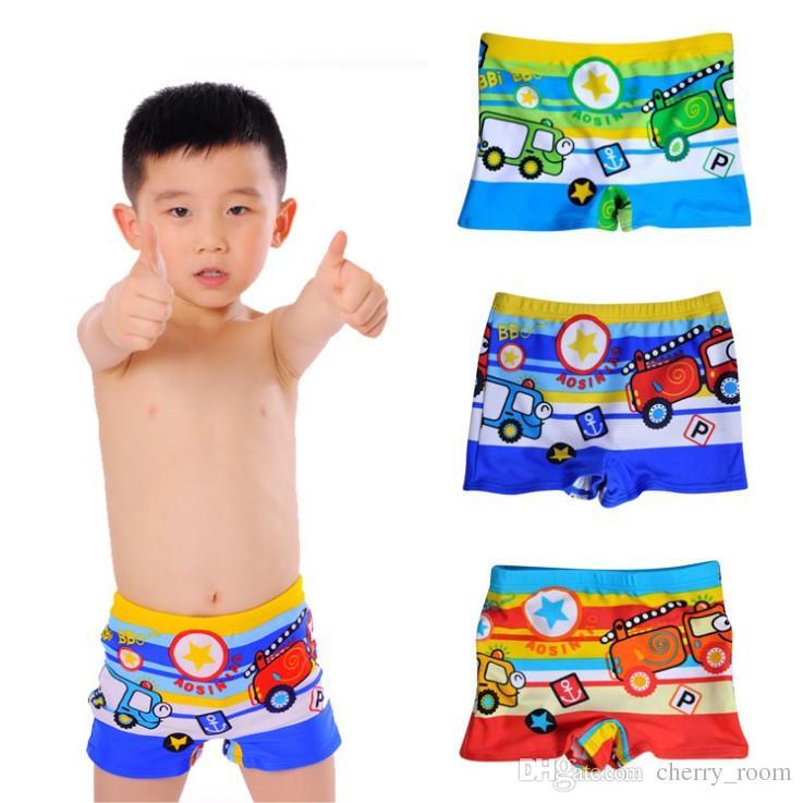 Fashion Cartoon Kids swimwear 2018 New Car Printed Baby Boys swim shorts Cute Bus Stripe Children board shorts C3576