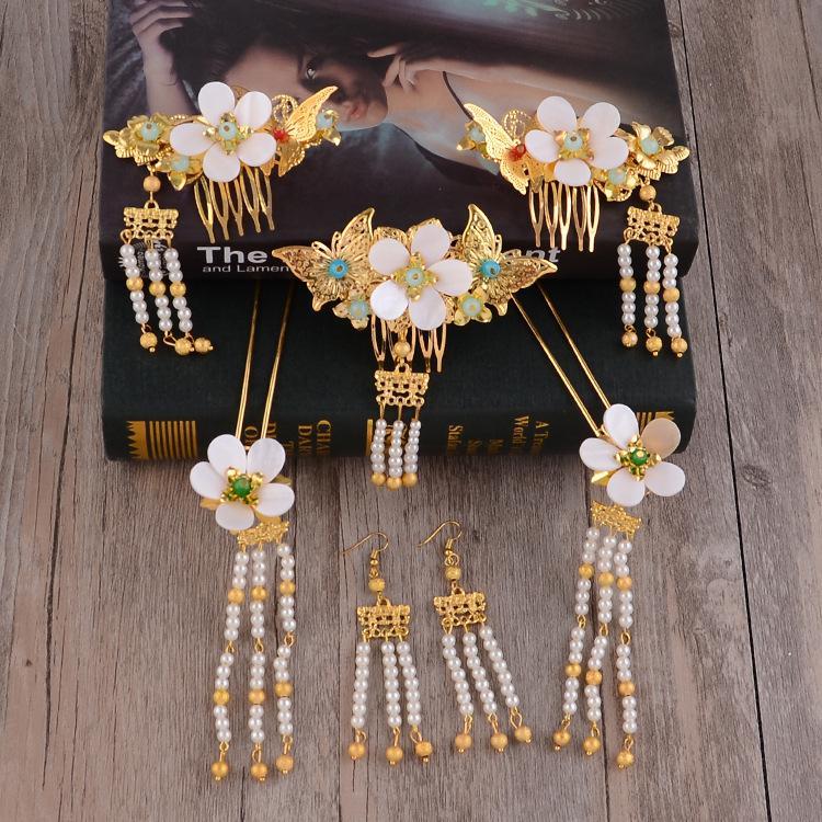 Chinesischen Stil Braut Antike Kostüm Kopfbedeckung Anzug Weiße Muschel Wiederherstellen Alte Wege Haar Verzieren Cheongsam Zeigen Wo Phoenix Coronet Golden Ma