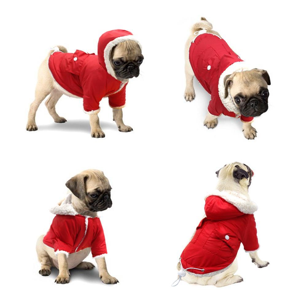 겨울 개 코트 의류 애완 동물 자켓 따뜻한 의류 패딩 치와와 퍼그 의류 의류 후드를 들어 작은 강아지 중형견 핑크