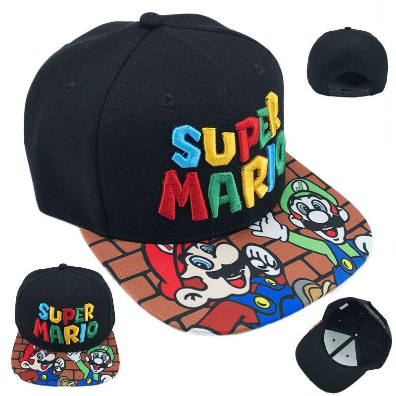 Juego Super Mario Bros Gorra de béisbol con snapback ajustable Gorra negra Cosplay NUEVO DFA