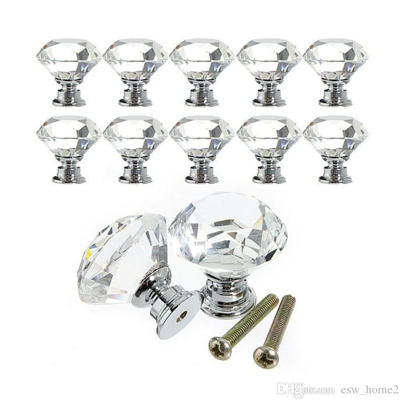 Cabinet Pull 30mm Diamond Furniture Accessory Clear Crystal Glass Door Pull Drawer Handle Knob Screw For Home Kitchen Drawer