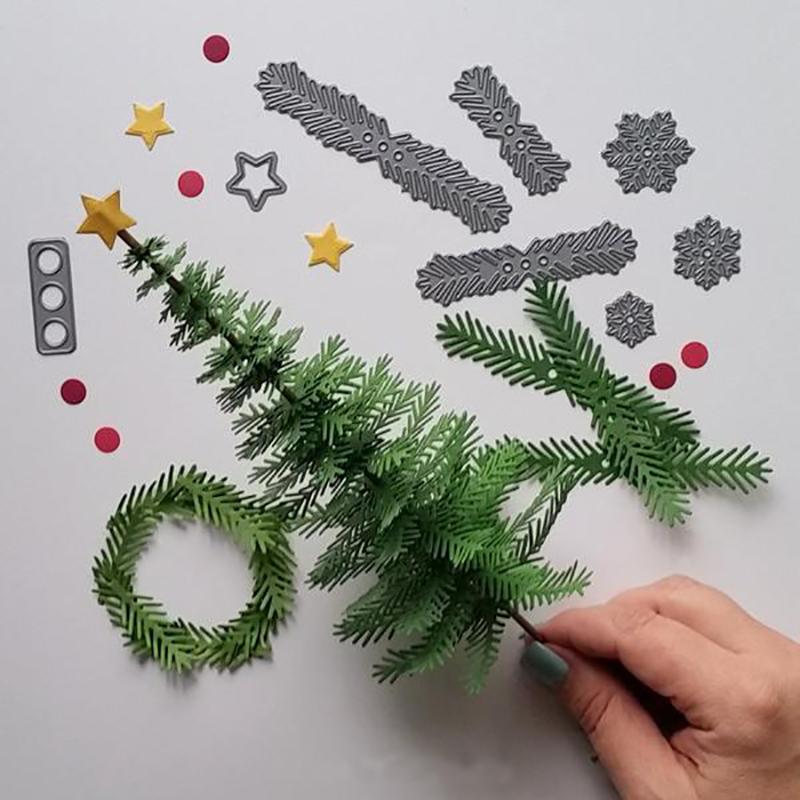 Christmas Tree Leaves Metal Cutting Dies Stencil Xmas Gift Scrapbooking Card DIY Decorative