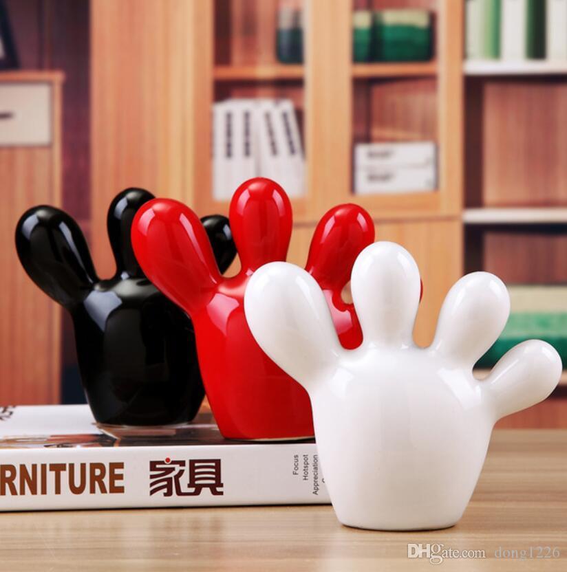 blanc noir rouge en céramique Petits pieds statue décor à la maison artisanat salle décoration figurines en porcelaine Mignon décoration de la chambre des enfants