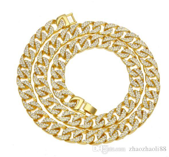 18KGold Fill Men's Lad Diamond Necklace HIPHOP High Quality Full Polished Cuban Chain