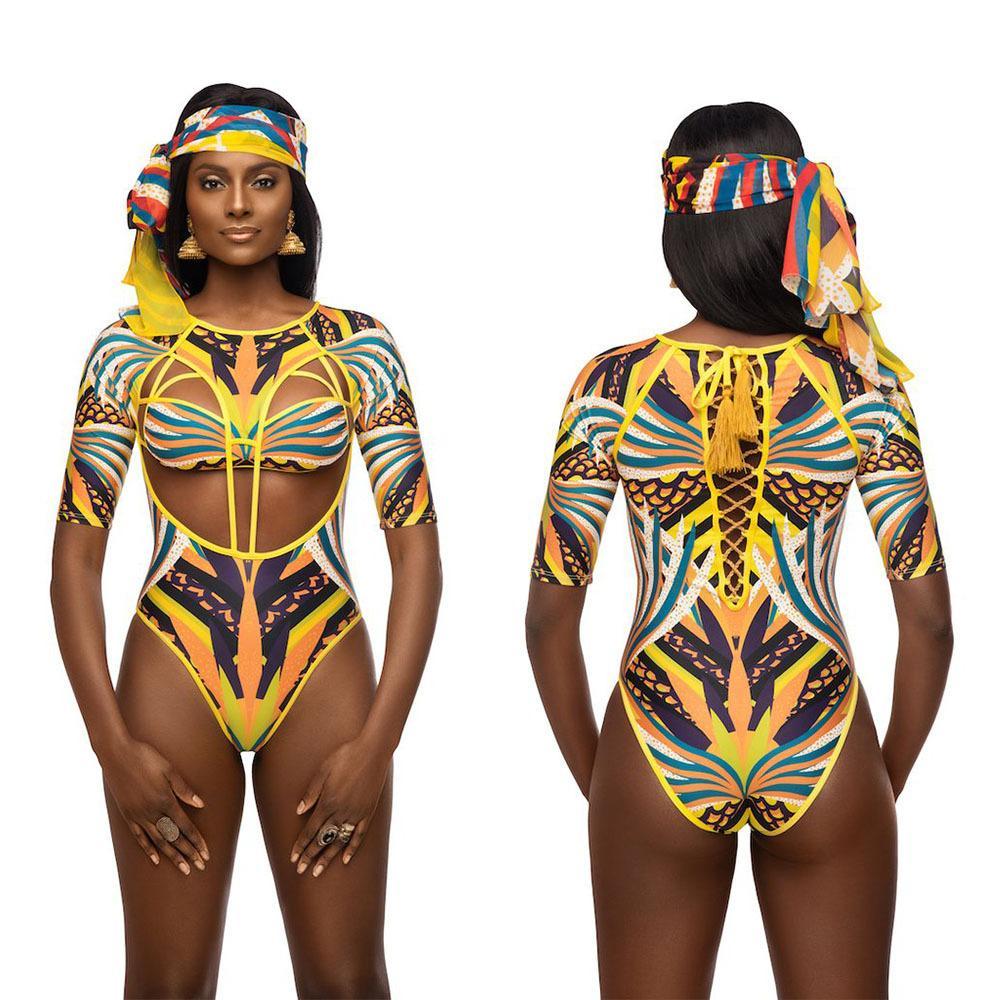 2018 년 여름 유럽과 미국 스타일의 긴 소매 인쇄 섹시한 관점 hollowed 터틀넥 수영복 여자