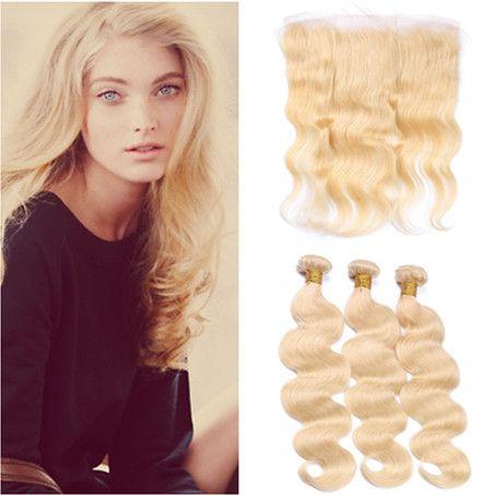 Body Wave # 613 Blonde Full Lace Frontale Fermeture 13x4 avec 3Bundles Bleach Blond Blonde Malaisienne Vierge Weave Trames avec Dentelle Frontale
