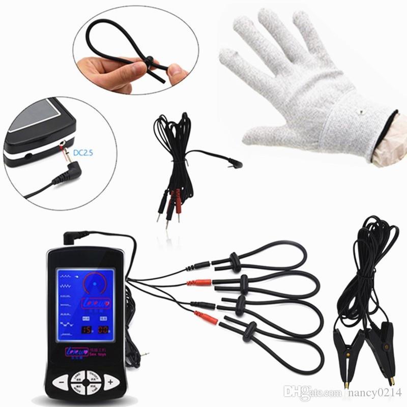 3in1 электрический шок перчатки груди клипы пенис кольца задержка эякуляции всего тела массажер клиторальный стимулятор секс-игрушки для мужчин I9-1-219