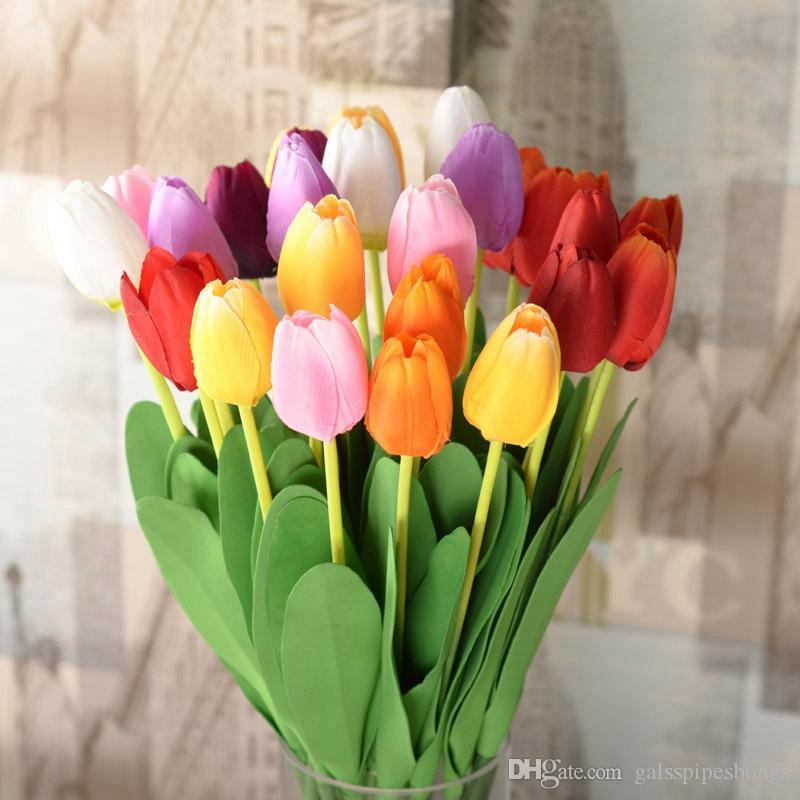 7 colori tulipano fiori artificiali pu tulipani in lattice 63 cm seta real touch fiori per la decorazione domestica fiori decorativi di nozze