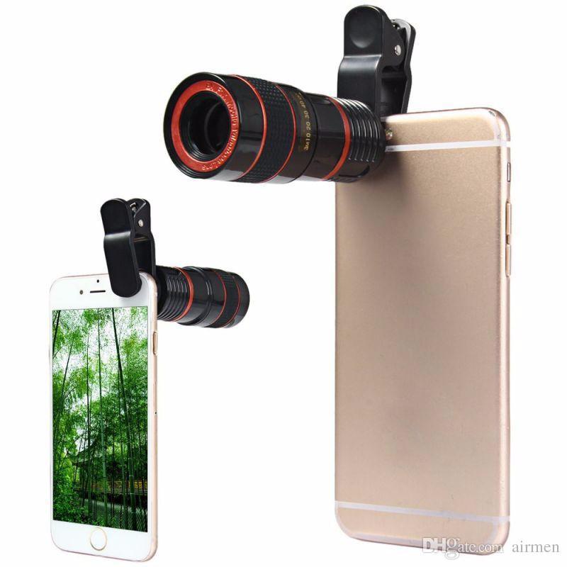 Lente telescópica 8x Zoom Cámara óptica universal Teleobjetivo Len con clip para iPhone Samsung HTC Sony LG Teléfono móvil inteligente