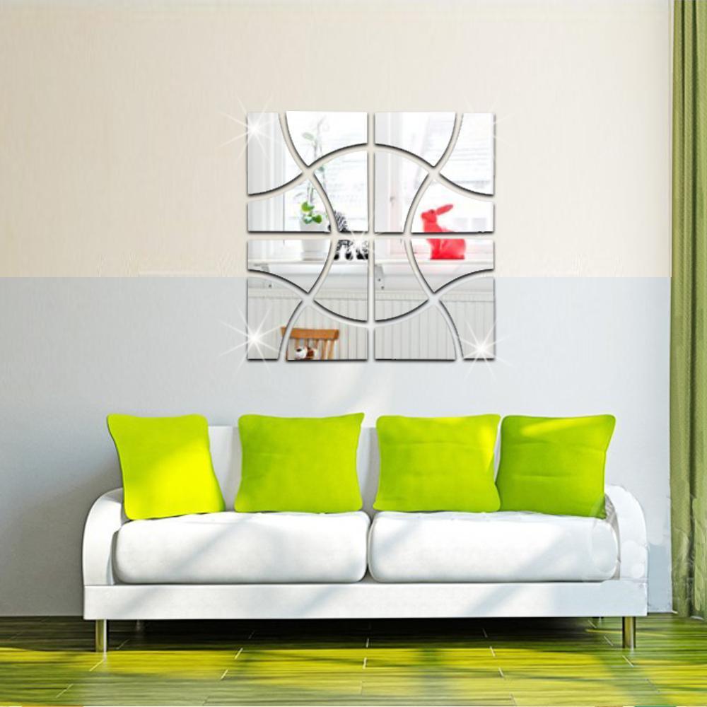 2017 28x112 cm 16 pz / set 3d specchio turbinii adesivi murali acrilico murale GRANDE Piazza decorazione della casa espelhos decorativa MS361305