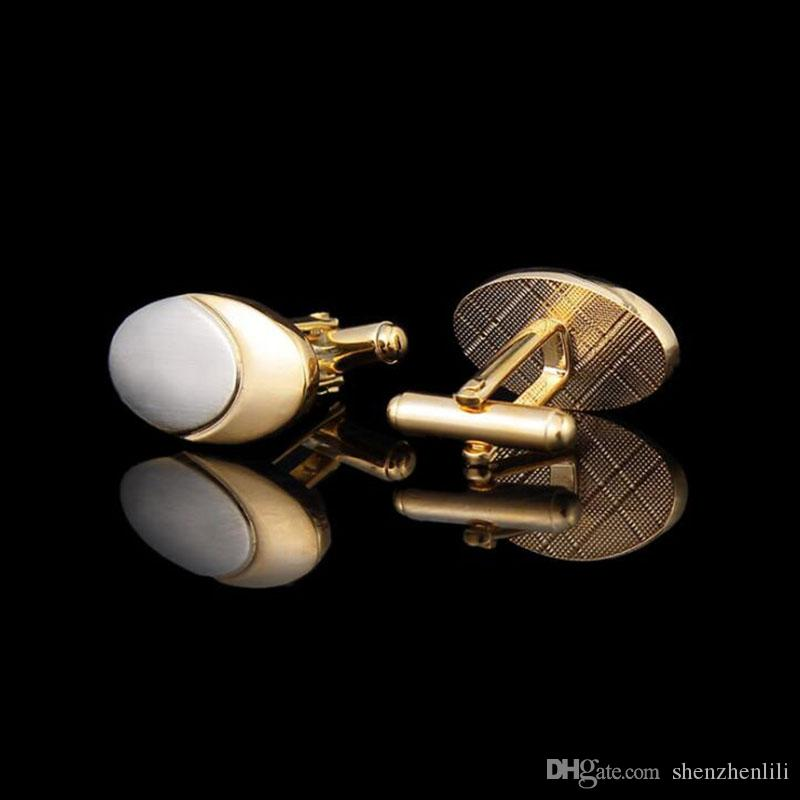 Gold Plating Pigeon eggs Europe and America Middle East Men's Cufflinks Business Wedding Opening Ceremony Gift Shirt Cuff Free Shipping