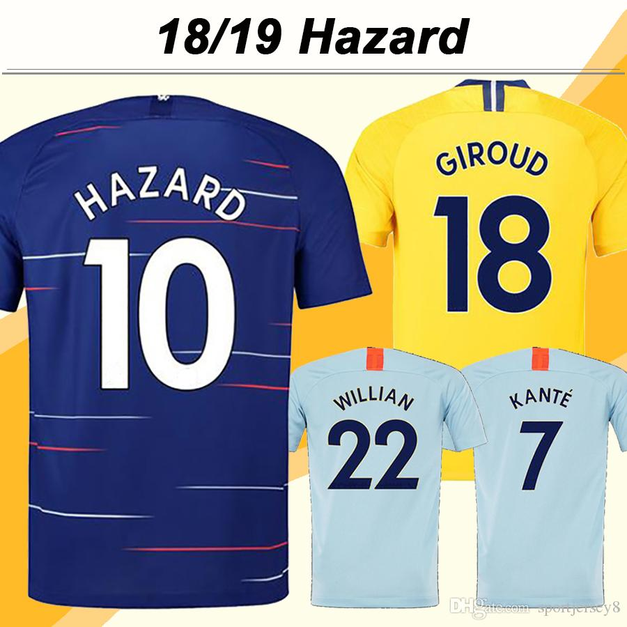 2018 19 위험 축구 유니폼 Giroud Morata Kante 홈 멀리 3RD Mens Football Shirts Top Thailand Willian Pedro Fabregas 짧은 유니폼