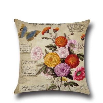 Hotel 45 * 45cm Funda de almohada de flores de rosa vintage Funda de cojín de lino de algodón Funda de almohada de rosas vintage Funda de cojín cuadrado de lino de sofá