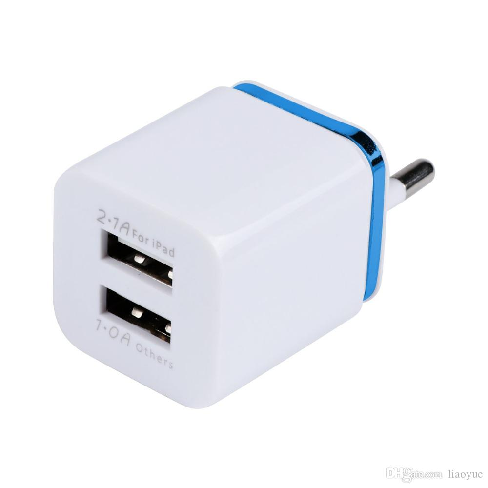 Dual USB Cell Mobile Phone Wall Travel Charger 5V 2.1A/1A EU US Plug Adapter for Cellphone Smart Phone MP3 Tablet 2Ports