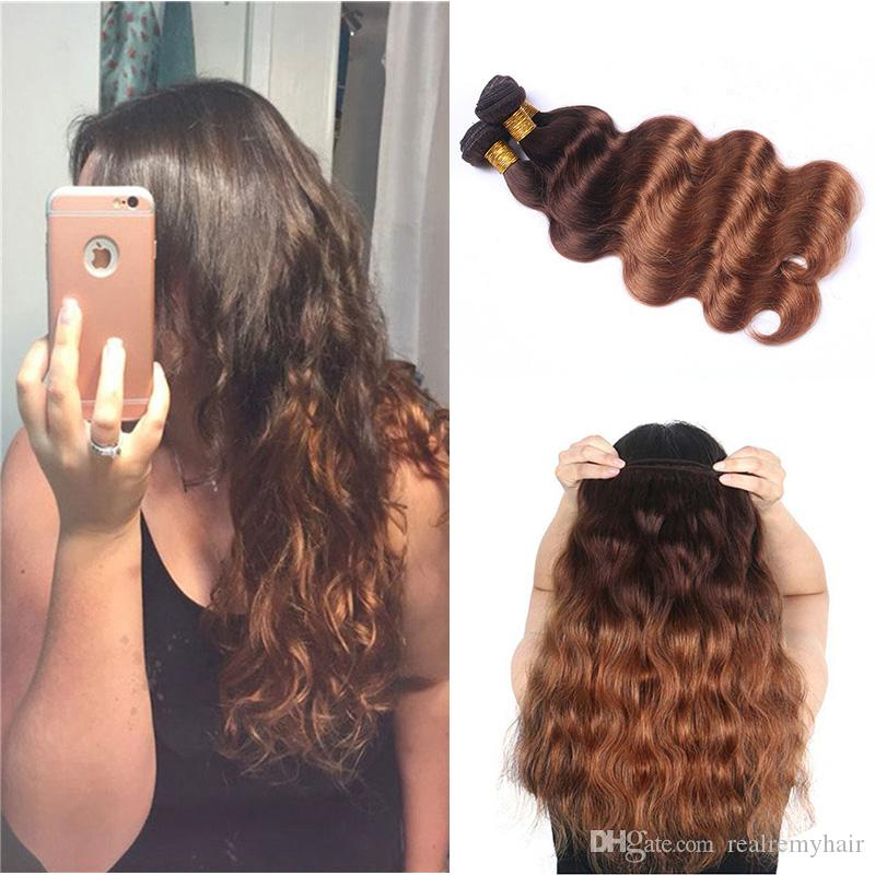 Colored Peruvian Human Hair 3 Bundles Body Wave 4/30# Dark Brown Blonde Ombre Hair Style Cheap Peruvian Virgin Human Hair Weaves