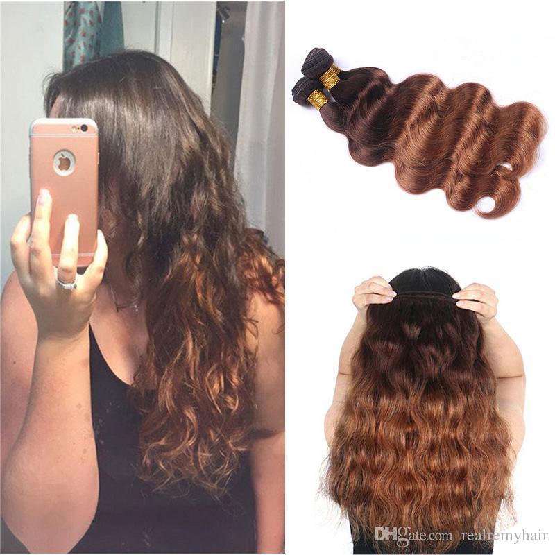 Colored Peruvian Human Hair 3 Bundles Body Wave 4/30# Dark Brown Blonde Ombre Hair Style Cheap Peruvian Virgin Human Hair Weaves