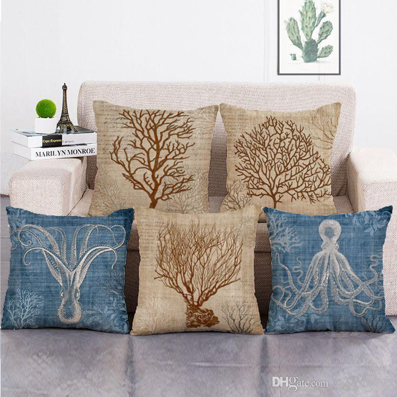 sea coral cushion cover vintage nautical couch chaise throw pillow case marine crab octopus cojines decorative almofada