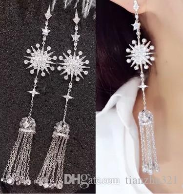 high quality low price diamond crystal snow women's 925 silver earings (12.5*2.2cm)