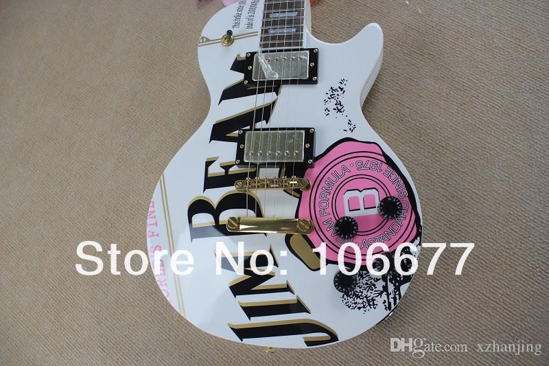 Livraison gratuite G modèle JIM BEAM avec rose rose fleur décalque sur corps couleur blanche OEM Les Standard Guitare électrique